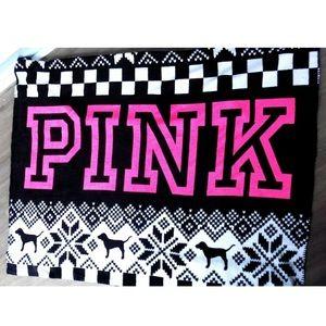 Victoria's Secret PINK Cozy Dog Logo Throw Blanket